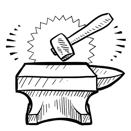 labor strong: Doodle style hammer and anvil sketch in vector format