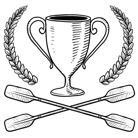 Doodle style canoeing or boating trophy sketch in vector format