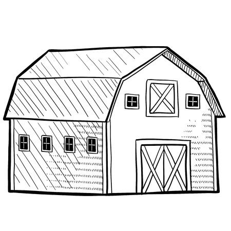 벡터 형식으로 농촌 지역의 스케치에서 낙서 스타일의 복고풍 헛간 일러스트