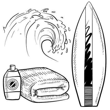 Doodle style surfing gear sketch in vector format  Set includes surfboard, suntan lotion and towel, and cresting wave