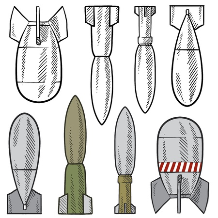 artillery shell: Bomba de estilo Doodle, concha, y la ilustraci�n explosivo en formato vectorial Set incluye una variedad de tipos que pueden ser lanzadas desde aviones, disparos de los ca�ones o armas de fuego, y utilizada por los tanques Vectores