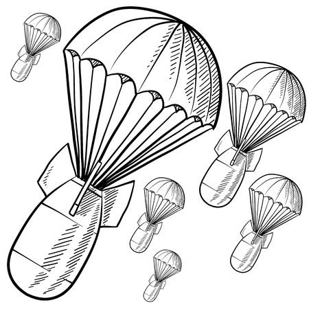 bombe: Bombes de style Doodle descendant sur les parachutes en format vectoriel