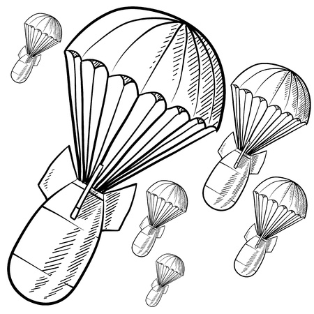 vietnam war: Doodle style bombs descending on parachutes in vector format