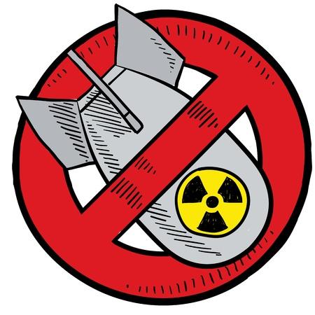 nuclear bomb: Estilo Doodle antinuclear s�mbolo que muestra una bomba nuclear en un c�rculo rojo, tachado Ilustraci�n est� en formato vectorial