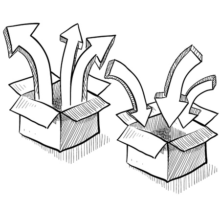 routing: Doodle style packing, shipping, and distribution sketch in vector format showing boxes with unpacking and packing arrows   Illustration
