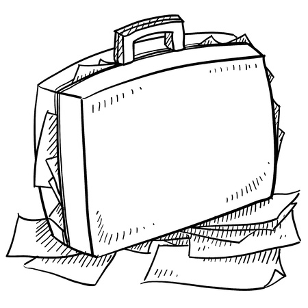 Doodle style office briefcase stuffed with papers sketch in vector format