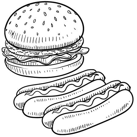 perro caliente: Hamburguesas de estilo Doodle y el perro caliente con pan y condimentos boceto en formato vectorial