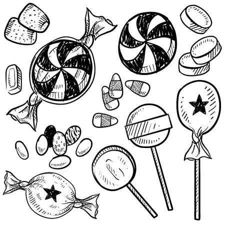 Doodle style hard candy set sketch in vector format  Includes lollipops, mints, wrapped candy, butterscotch, candy corn, gum drops, and jelly beans   Stock Illustratie