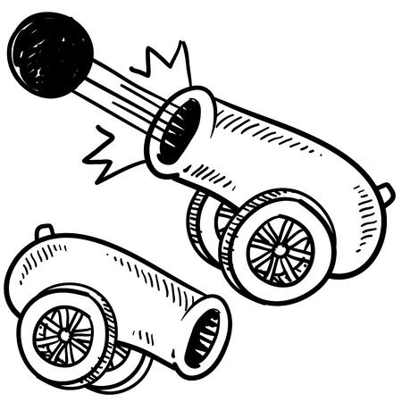 Doodle stijl oude stijl kanon schets in vector-formaat