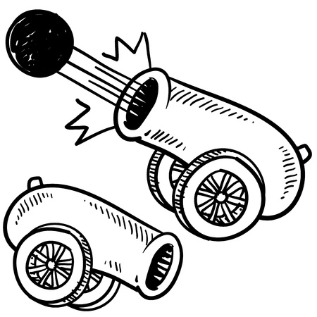 bombard: Doodle style old style cannon sketch in vector format