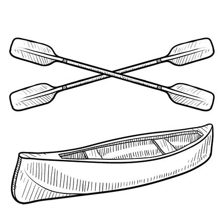 kayak: Doodle stijl kano en peddels schets in vector-formaat