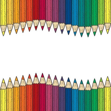 art and craft equipment: Doodle estilo sin fisuras la frontera l�piz de color o dibujo de fondo en formato vectorial Vectores