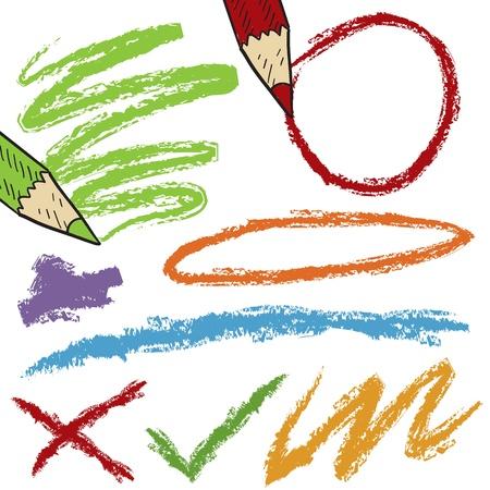 Doodle Stil Farbstift Linien, Kreise, und Kratzer Skizze im Vektor-Format Standard-Bild - 14559369