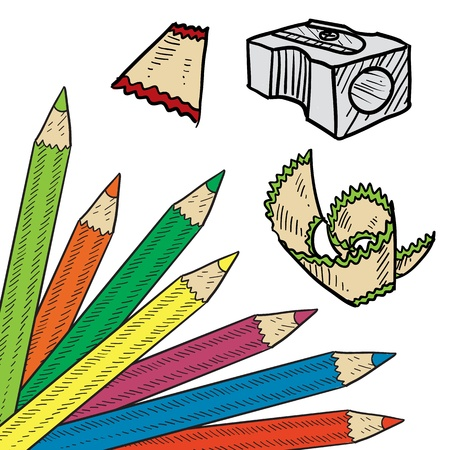 art supplies: Doodle style colored pencil corner background sketch in vector format  Set includes corner tab, pencil sharpener, and shavings