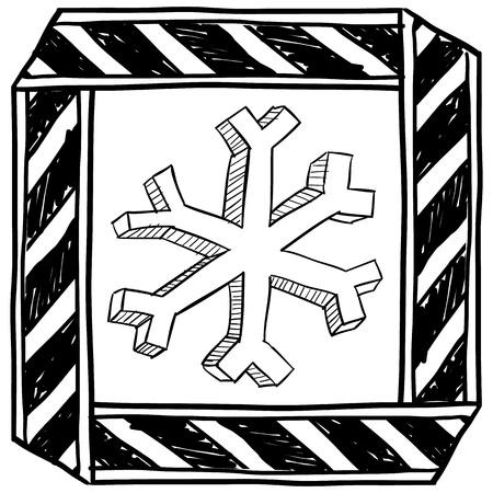 caution sign: Stile di disegno Doodle pericolo di congelamento cautela segno in formato vettoriale