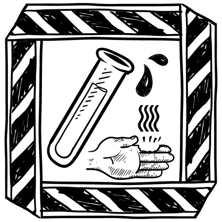 caution chemistry: Doodle style danger of chemical spill or burn caution sign sketch in vector format