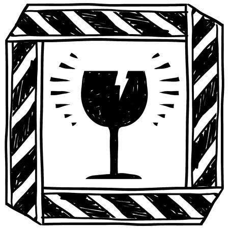 vetro rotto: Pericolo stile Doodle di vetri rotti cautela schizzo segno in formato vettoriale