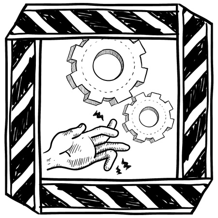 factory workers: Doodle style dangerous machinery caution sign sketch in vector format