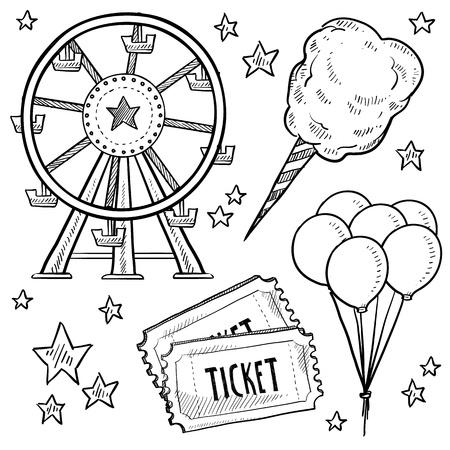 벡터 형식으로 낙서 스타일의 놀이 공원이나 카니발 장비 스케치 솜사탕, 관람차, 풍선 및 티켓 포함 스톡 콘텐츠