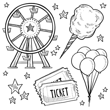 Doodle style amusement park or carnival equipment sketch in vector format  Includes cotton candy, ferris wheel, balloons, and ticket   Stockfoto