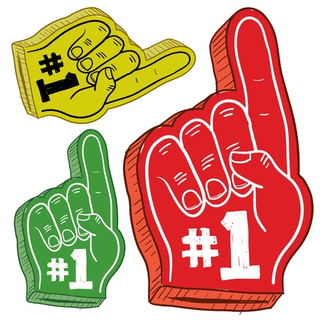 Doodle style colorful foam fingers used at stadiums and ballparks to cheer on your team  Vector file   版權商用圖片