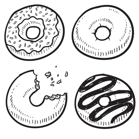 Doodle style donut or doughnut illustration in vector format  Set includes glazed, cake, frosted, and chocolate  Stock Illustration - 14559443