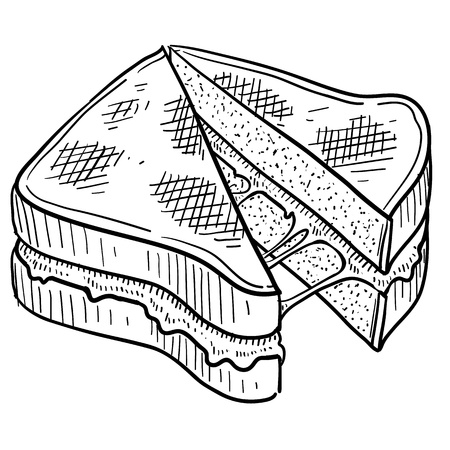 Doodle style gooey grilled cheese sandwich illustration in vector format