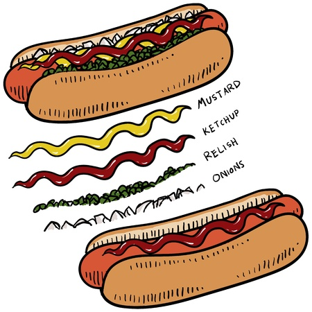 ballpark: Doodle style hot dog with bun and condiments sketch in vector format