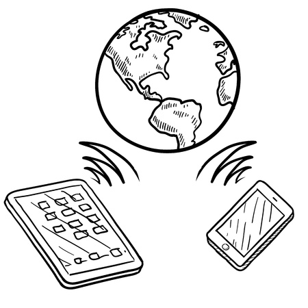 smartphone icon: Doodle style global cloud computing illustration showing data being sent and received globally on smartphones, tablets, and mobile devices