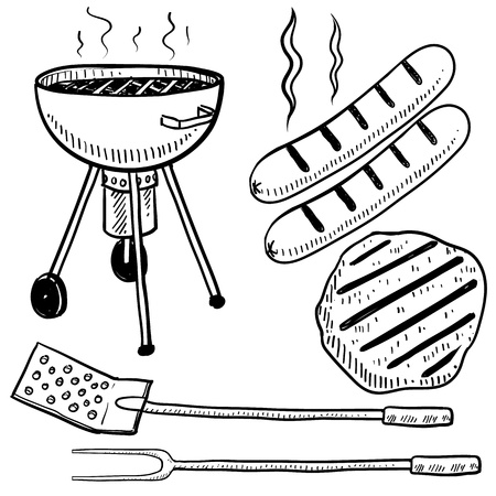 Doodle style backyard cookout or grill gear in vector format  Set includes charcoal grill, hot dog, hamburger, spatula, and fork   Stock Photo
