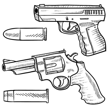firearms: Doodle style pistol or handgun sketch including an automatic and a revolver in vector format  Also included are bullets   Stock Photo