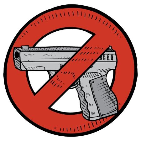 Doodle Stil Handfeuerwaffe Verbot oder Waffenkontrolle Abbildung im Vektor-Format beinhaltet die automatische Pistole durch Kreis mit einer Linie umgeben durch sie Standard-Bild - 14546427