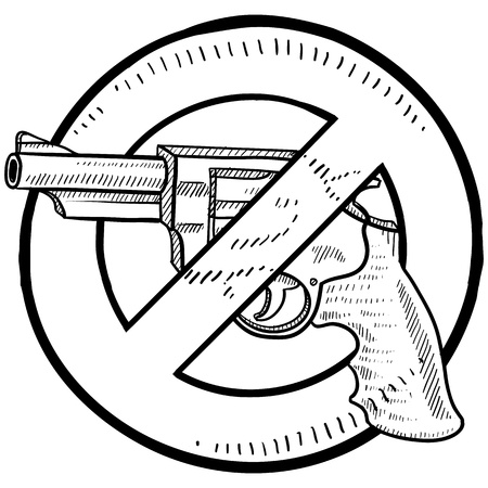 Doodle style handgun ban or gun control illustration in vector format  Includes a revolver surrounded by a circle with a line through it   版權商用圖片