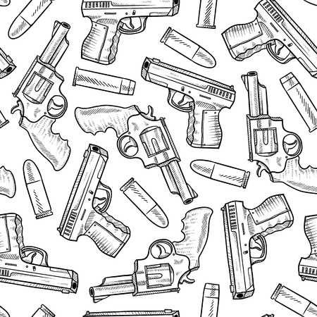 Doodle style seamless handgun background designed to be tiled  Vector format