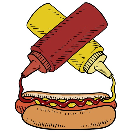 mustard: Doodle style hot dog with ketchup and mustard on a bun  Condiments are crossed to balance the design  Vector format
