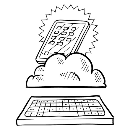 Doodle style cloud computing illustration showing a tablet residing in the data cloud acting as a workstation with a keyboard   illustration