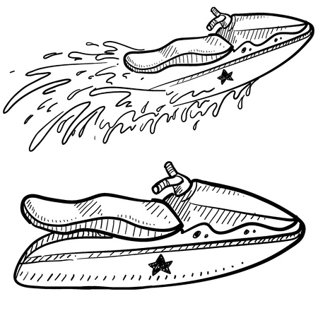 water jet: Doodle style jet ski illustration in vector format  Includes side view and action view in vector format