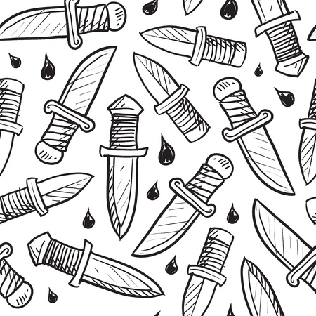 Doodle style knife background designed to be tiled  Vector format