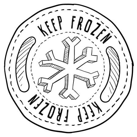 frozen fish: Doodle style keep frozen food label sketch in vector format