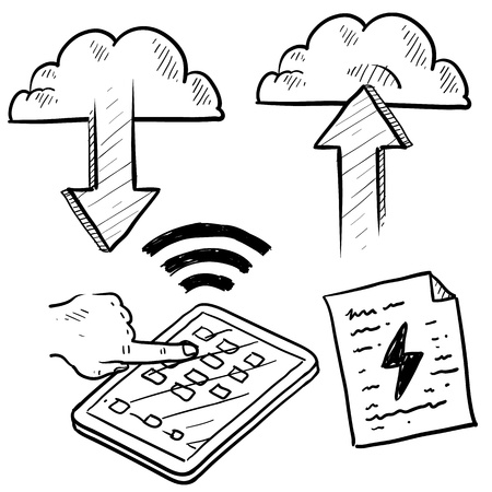 Doodle style cloud computing illustration showing data being uploaded into the cloud and downloaded to smartphones and mobile devices  illustration