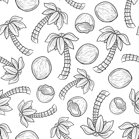 Doodle style palm tree and coconut seamless background pattern ready for tiling in vector format Stock Photo - 14559474