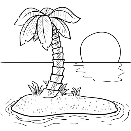 Doodle style tropical or deserted island with palm tree and sunset in vector format  Stock Photo