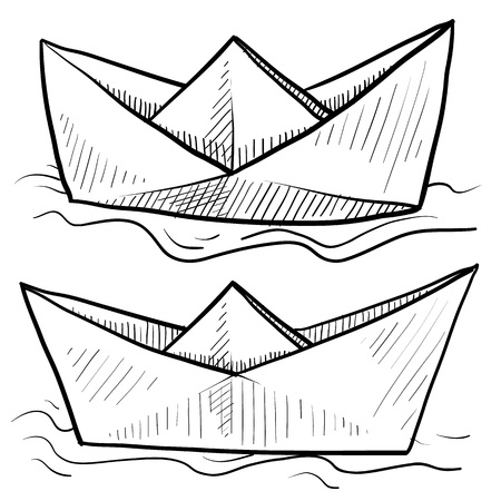 Doodle style origami folded paper boat floating on water in vector format  版權商用圖片