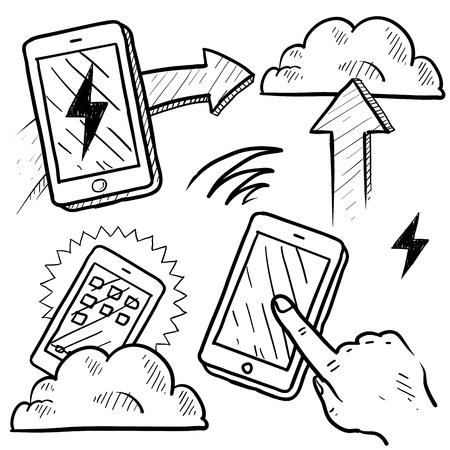 Doodle style cloud computing illustration showing data being uploaded into the cloud and downloaded to smartphones and mobile devices