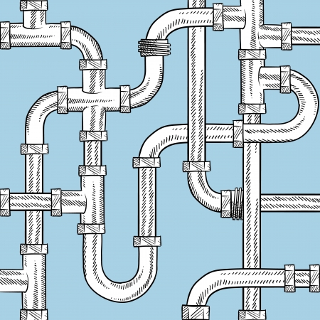 plumbing repair: Doodle style seamless water pipe background sketch in vector format  Ready to be tiled   Stock Photo