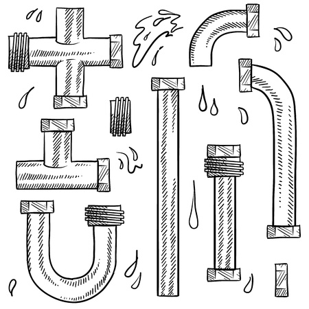 pipe wrench: Doodle style water pipes sketch in vector format  Includes various pieces of pipe to make your own design