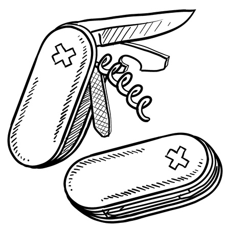 pocket knife: Doodle style multitool folding knife sketch in vector format