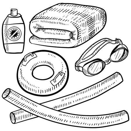 poolside: Doodle style beach vacation or poolside items in vector format  Set includes towel, goggles, inner tube, floaties, suntan lotion  Stock Photo