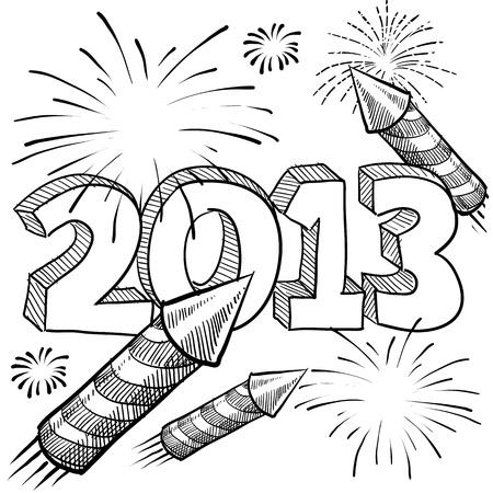 Doodle-Stil ins Neue Jahr 2013 Illustration im Vektor-Format mit Retro-Feuerwerk Feier Hintergrund Standard-Bild - 14559472