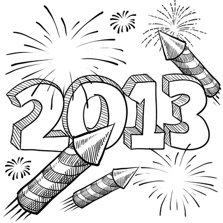 festivities: Doodle style 2013 New Year illustration in vector format with retro fireworks celebration background Stock Photo